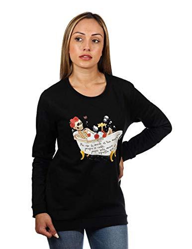 ANIMOSA Sudadera Frida Kahlo Esqueleto Negro M Negro