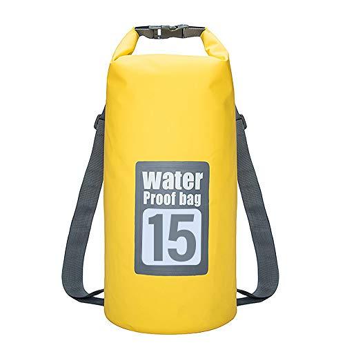 ShenHO Bolsa Seca Impermeable Correas Ajustables, Bolsillo con Cremallera y asa Kayak, canotaje, Canoa, Pesca, Rafting, natación, Camping, Snowboard (Yellow, 15L)
