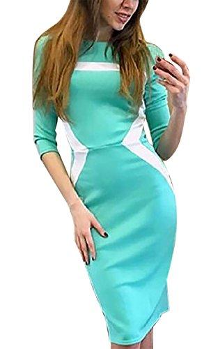 Damen Reizvolle Blusenkleid Rundkragen 3/4 Ärmel Abendkleider  Freizeitkleider Sommerkleider Unterrock Blau