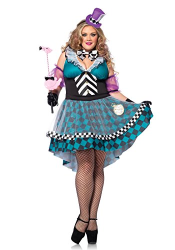 Leg Avenue 85227X - Manic Mad Hatter Kostüm Set, 4-teilig, Größe 44-46, (Size Amazon Plus Kostüme Halloween)