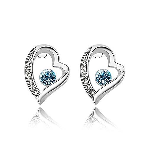 Fashion Femme Cristal Diamant Boucles d'oreilles clous d'oreilles Cœur plaqué or blanc 18K