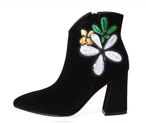 ZCH femmina tacchi alti stivali in pelle opaca appuntita singolo Stivali Femmina laterale cerniera ricamo fiori stivali donna black