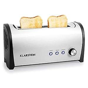 Klarstein Cambridge2 - Grille-pain fente extra longue pour 2 tranches alignées pour un gain de place sur la largeur (1000W, fonction réchauffer, fonction décongélation)