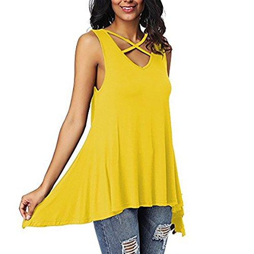 JUTOO 2019 Neue Frauen Criss Cross Front V-Ausschnitt Solide Ärmellos Unregelmäßige T-Shirt Bluse Tops (Yellow,L)