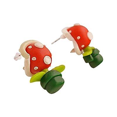 """'supersüße mouches Boucles d'oreilles champignon de style bande dessinée, comme dans Super Mario. ressemblent geknetet Fimo de style """""""