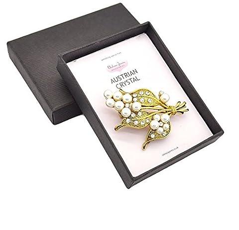 Style vintage/antique Effet doré brûlé Cristal Autrichien Strass et fausse perle–Broche Muguet–Livré dans une boîte