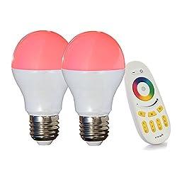 LIGHTEU 2x WLAN LED Lampe original, 6 W, E27, dimmbar, Farbwechsel Glühbirne mit 4 zonen Fernbedienung, warmweiß LT-6W-RGB-2-F