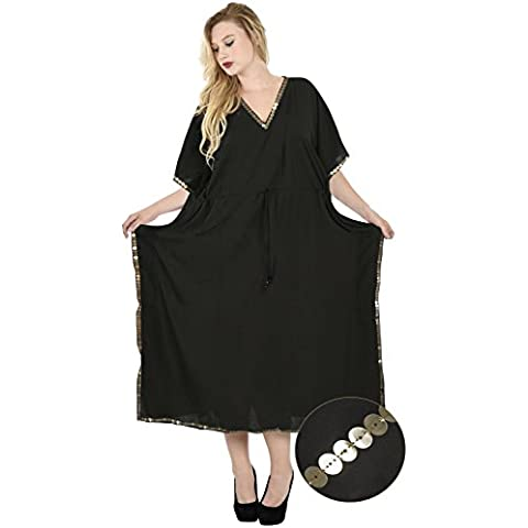 La Leela morbido kimono rayon più il vestito di paillettes pianura kaftano coprire fino donne kimono top tunica Ladies Beach poncho donne con scollo a V boho spiaggia maxi kurta intera lunghezza nero