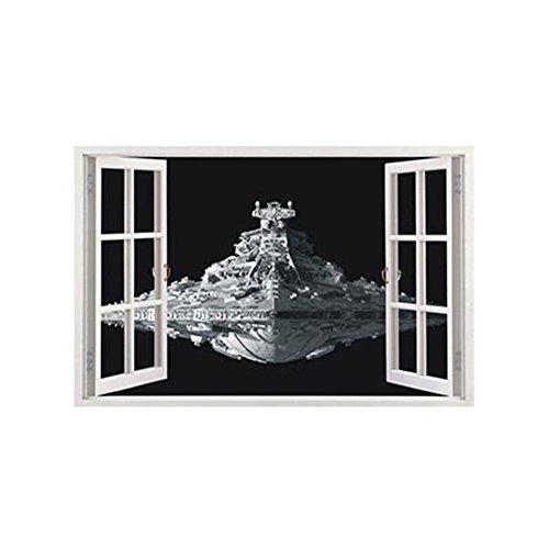 Wallpicture Art Wandaufkleber-Decals Abnehmbare Selbstklebende Tapete Star Wars Spacecraft 3D Stereo Aufkleber Schlafzimmer Wohnzimmer Renovierung Einfach Zu Pasten Langlebig(60x100cm) LAD-I