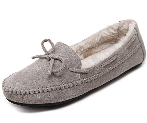 Minetom Damen Winter Mokassins Hausschuh Warme Erbsen Schuhe Flache Stiefel Mit Bowknot Loafers Schuhe Grau EU 37 (Strass-mokassin)