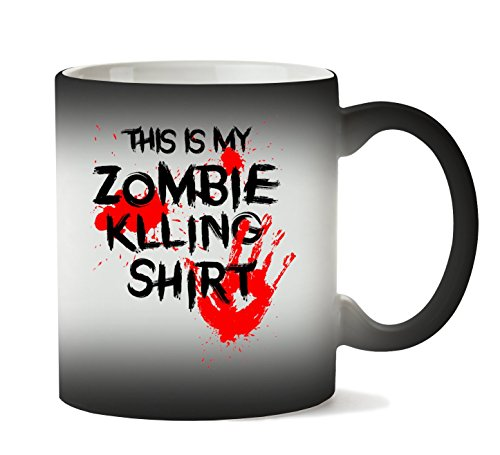 MugWorld This is My Zombie Killing Shirt Blood Hand Tasse Hitze Farbwechsel