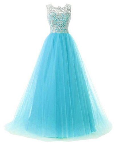 Arrowhunt Women's Lace Long Evening Gowns Party Dresses Tulle Prom Homcoming Dress Light Blue