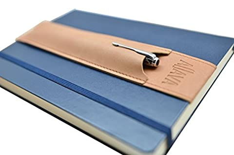 skors Pen Holder ALJAVA for (A5) Leuchtturm1917 or Moleskine Notebooks, Bullet-Journals or Calendars with Hardcover in Tobacco - Made of Faux