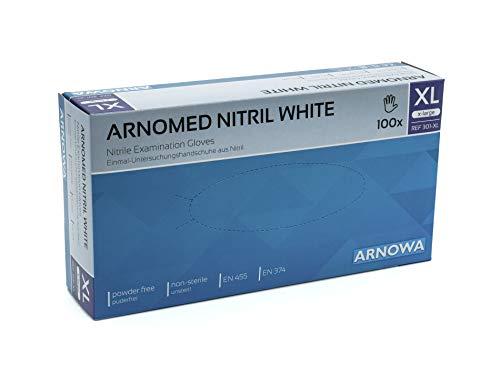 Nitril-Handschuhe weiß, 1000 Stück, Einweg-Handschuhe puderfrei, Einmal-Handschuhe von ARNOMED, Untersuchungs-Handschuhe, ungepudert, unsteril, EN 455, EN 374, Größe XL, extralarge