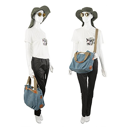 Borsa da donna a tracolla da spalla di tela, Borsa da donna a mano per viaggi, studenti, lavori e altro uso quotidiano ( Marrone ) 4-blu