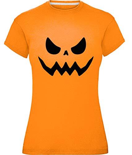 Damen Kürbis Gesichter T-Shirt (Mittel (Größe 40), Gruselig)