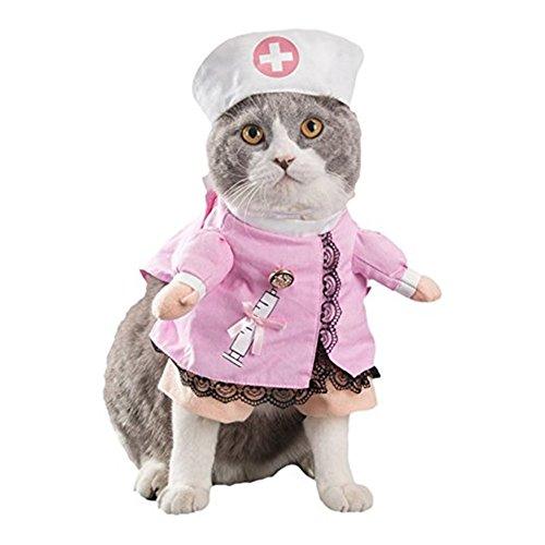 Morbuy Reizende Katzenkostüm Hunde Haustier Kleidung, HundeKostüm Hundebekleidung Kostüme Kleidung Katze lustiges Kleid cosplay (S, Farbe 2 Krankenschwester) (Hund Hai-kostüm)