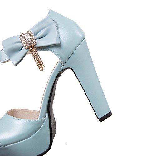 YE Damen Riemchen Peep Dicker High Heel Sandalen mit Schnalle und Schleife Elegant Pumps Schuhe Blau