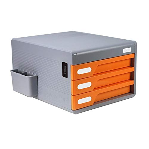 XSWZAQ Desktop-Aufbewahrungsbox Schublade mehrschichtigen Aktenschrank Passwort Datei Schreibtisch Aufbewahrungsbox Kunststoff Verdickung (Color : Orange) -