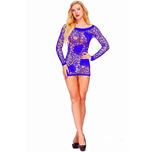 letter54 Frauen sexy Spitze durchschauen elastische Strumpfwaren Suspender Fantasy Net Bodystocking Blau Freie Größe