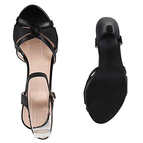 Damen Lack Sandaletten | Stiletto Sandalen Glitzer | Strass Schuhe Party Sommer | Riemchensandaletten Metallic T-Strap Schwarz Schwarz