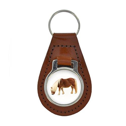 Shetland Pony Image Keyring Gift Boxed - COLOURED LEATHER