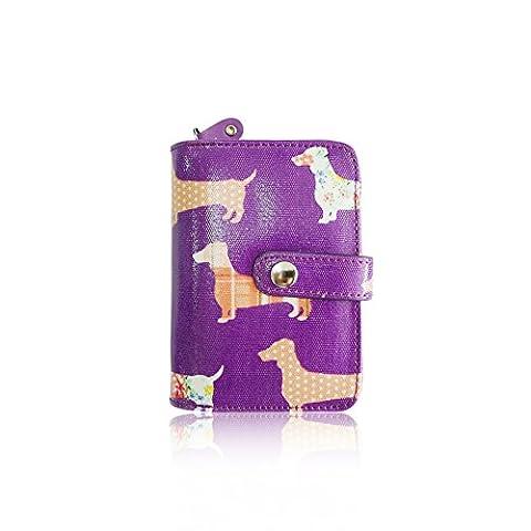 Ladies Girls Dachshund Sausage Dog Print Short Oil Coated Purse (Purple)