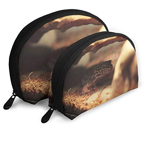 Gecko Leopard Eidechse Haustier Womens Travel Makeup Bag Shell Kosmetiktaschen - Packung mit 2 -
