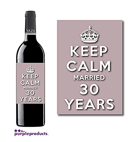 Keep Calm 30th Pearl Wedding Anniversary Wine bottle label Celebration