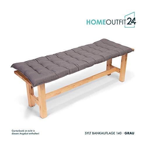 den 1-Stück Bankauflage Sylt in Grau Sitzkomfort auf höchstem Niveau, hochwertiges Polsterkissen für Gartenmöbel, 140 x 50 x 7 cm ()