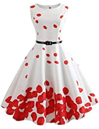 6c13b84782d6a VICGREY ❤ Donna Annata 1950 retrò Rockabilly Polka Vestito da Audery Swing  Senza Maniche Abito da