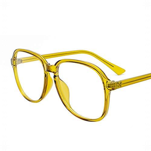 Easy Go Shopping Vintage Persönlichkeit rundes Gesicht klare Gläser Rahmen für Frauen, kein Abschluss. Sonnenbrillen und Flacher Spiegel (Farbe : Gelb)