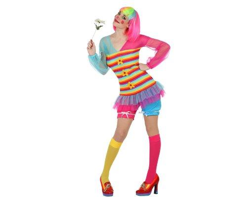 Atosa 22955–Costume da clown femminile, taglia XS-S, colorato