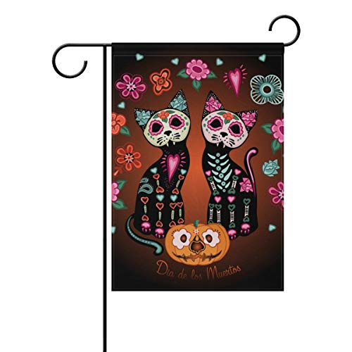 ASKYE Garden Flag Decorative Halloween Jack O Lantern Pumpkin Cat Skeleton with Floral Double Sided Printing Fade Proof for Outdoor Courtyards(Size: 28inch W X 40inch H) (Skeleton T-shirt Jack)