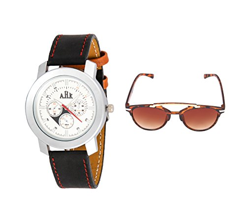 AHK Combo silver Artificial Pattern Analog Wrist Watch and Over-sized Sunglass For Boys, Men (watch, stylish watch, analog watch, designer watch, partywear watch, trendy watch, sunglasses, mens sunglasses, sunglass for men)