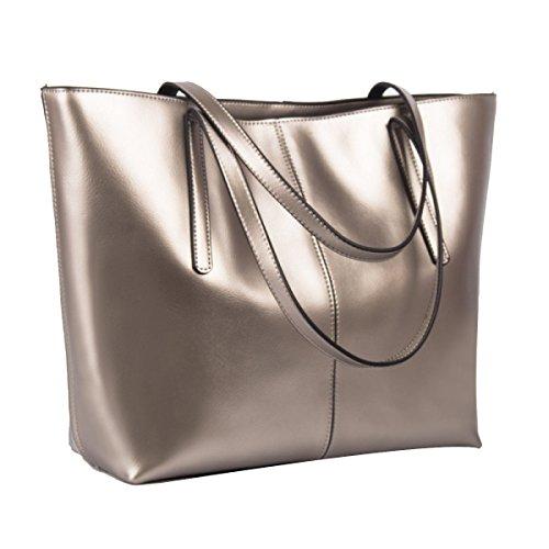 Damen PU Leder Laptoptasche Aktentasche Umhängetasche Messenger Taschen Silver