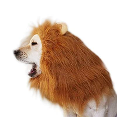 SNNplapla Pet Dog Lion Mane Wigs, Adjustable Hair Scarf Dog Custume for Halloween Christmas Party
