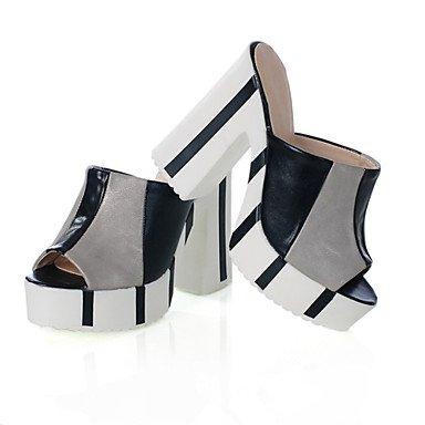 LvYuan Da donna-Sandali-Formale Casual-Con cinghia Club Shoes-Quadrato-Finta pelle-Blu Argento Dorato Blue