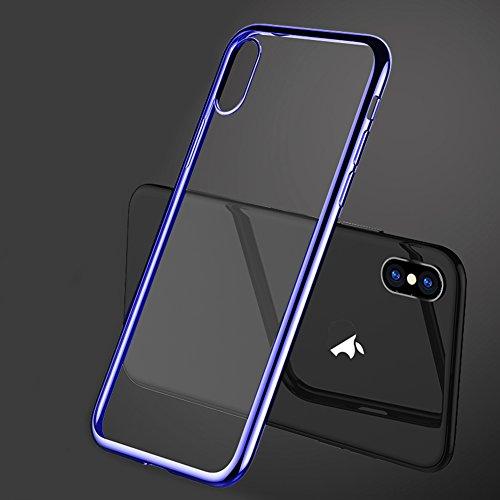 """Coque Apple iPhone 8 (4.7""""), MSVII® TPU Souple Transparent Bumper Coque Etui Housse Case et Protecteur écran Pour Apple iPhone 8 (4.7"""") - Bleu JY60058 Bleu"""