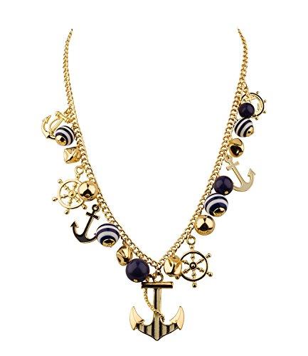 SIX-Marine-Damen-Halskette-statement-Kette-Marine-Look-viele-Anhnger-in-gold-wei-blau-Rudern-Anker-458-802