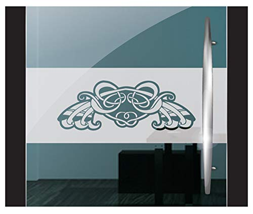 DD Dotzler Design 2802-21 Fensterfolie Sichtschutzfolie Milchglasfolie selbstklebend Gothic Ornament tribal Celtic Ritter Emblem (115 x 30 cm) Milchglas