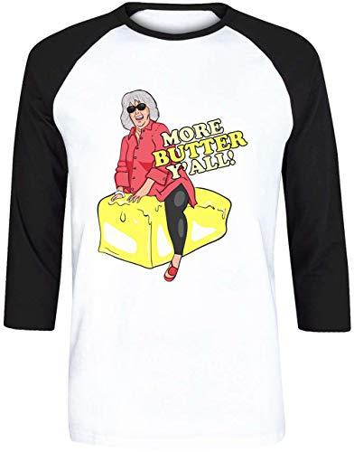 More Butter Yall! Unisex Herren Damen Weiß Baseball T-Shirt 3/4 Ärmel   Unisex Men's Women's Baseball T-Shirt -