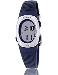 Reloj electrónico digital de múltiples funciones de los ni?os,Gelatina 50 m resina resistente al agua alarma cronómetro chicas o chicos peque?os simple moda retro reloj de pulsera-P