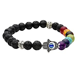 JOVIVI Schmuck, Lava-Armband Damen Herren Reiki-Energietherapie Armreif 7 Chakra Healing Buddha-Armband, Silber Hamsa Hand Stil