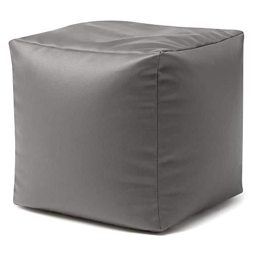 Bean Bag Bazaar Fußhocker Kunstleder - 38cm x 38cm, Fußbank Lederimitat - Sitzsack Hocker Würfel