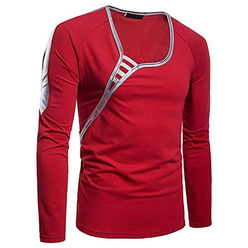 Langarmshirts Sannysis Herren Slim Fit T-Shirt Lässige O Neck Langarm Pollover Top Bluse Longsleeve Shirt -