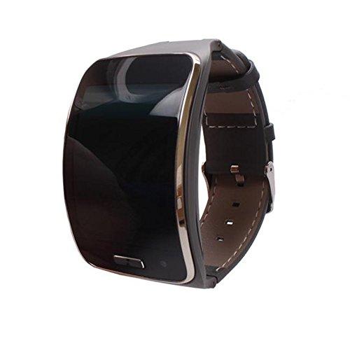 Colorful Echtleder Ersatzarmband Fitness Tracker Uhrenarmband Handgelenk Bügel Armband für Samsung Galaxy Gear S SM-R750 Smartwatch (Grau)