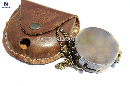 NAUTICALMART Kompass, Taschen-Kompass, Messing-Kompass, mit Ledertragetasche, Pfadfinder-Kompass, Adler Pfadfinder, Piraten-Kompass, Geschenk-Kompass, Camping-Kompass, Kompass