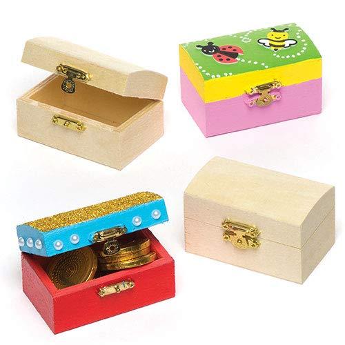 tztruhen aus Holz - zum Bemalen und Dekorieren für Kinder - Kästchen zur Aufbewahrung (4 Stück) ()