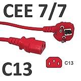 kab24® Kaltgeräte Stromkabel Powerkabel (5m, rot Schutzkontakstecker gewinkelt auf Kaltgerätebuchse gerade)